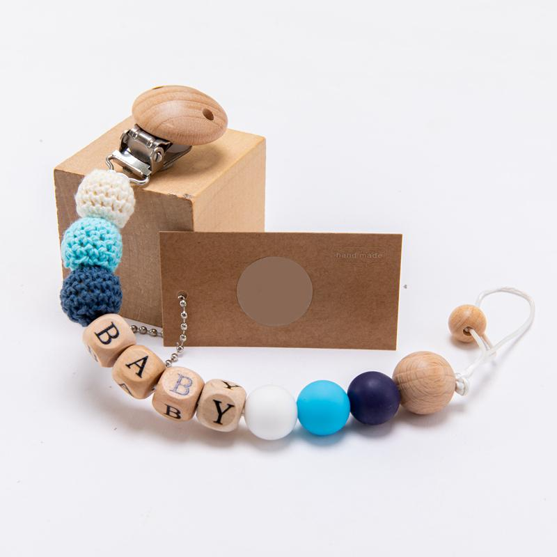 1pc Baby Pacifier Chain Personalize Name Pacifier Clip Wooden Dummy Chain Holder Cute Soother Chains Baby Teething Toy Chew