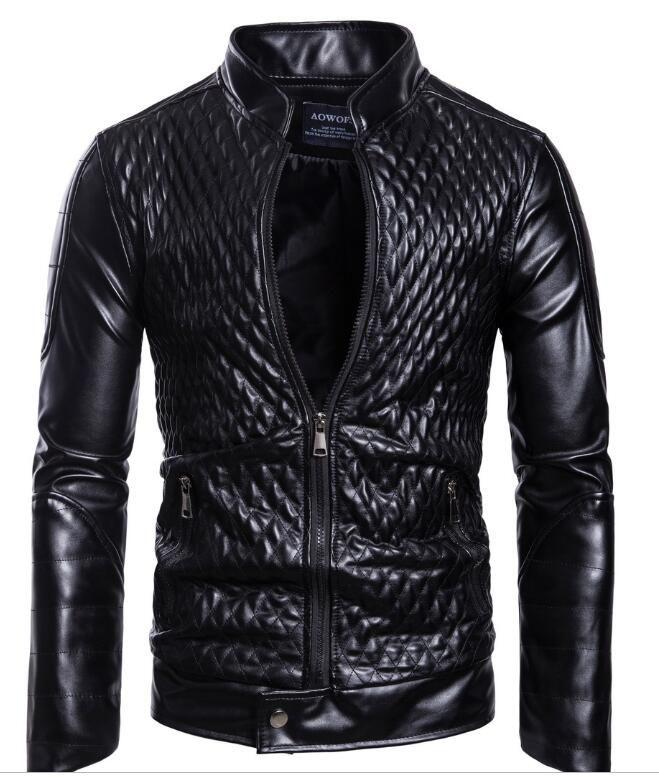 Fashion Men Motorcycle Leather Jack Collar Slim Long Sleeve Solid Color Fashion Men's Leather Jacket Black