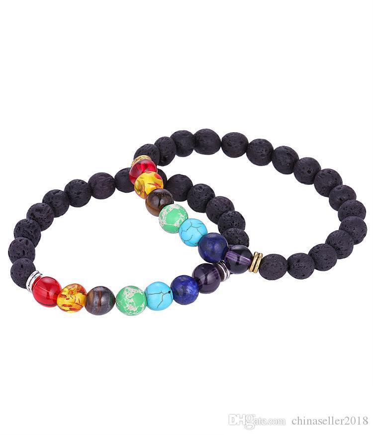 Yoga Armbänder Schwarz Natürliche Lava 7 Chakra Heilungsbalance 8 mm Perlen Armband Für Männer Frauen Gebetssteine 500 stücke