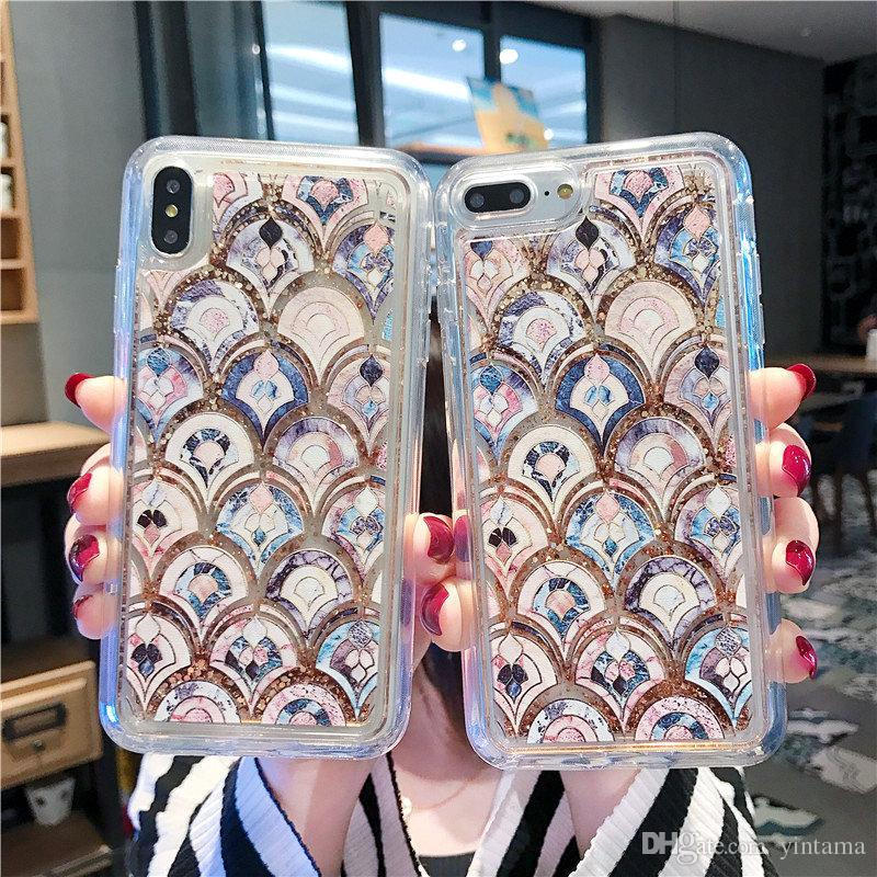 Luxurious Europe Classical Art Marble Decorative Pattern Mermaid Scale Golden Shimmerin Quicksand Iphone Hand Shel for iphone 11promax