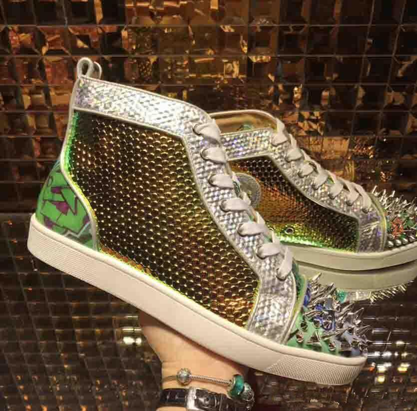 [Original box] 2018 New Perfect Designer Outdoor Red Bottom Sneakers Men Shoes Luxurys Print Silver Pik Pik No Limit RARE Studs Casual Shoes