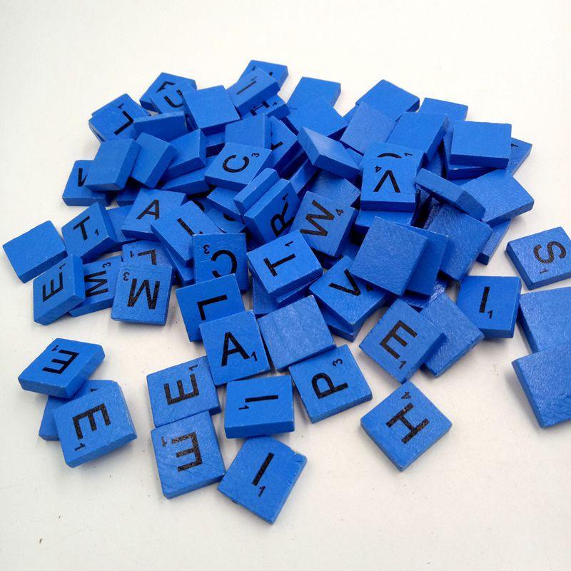 Azuis 100 madeira Scrabble telhas letras pretas números para artesanato em madeira alfabetos bom para crianças Educacional Aprender Drop Ship 30 #