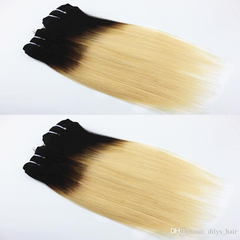 Couleur T / 613 Straight Extensions de cheveux humains 100% péruvien brésilien de faisceaux de cheveux humains tisse des cheveux de 12 pouces