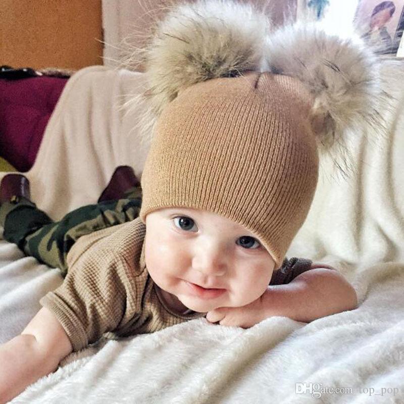 Baby Knit Hat Double Fur Ball Pom Pom Winter Knit Beanie Faux Fur Solid Beanie Ski Cap Scarf Kit Xmas Party Hats JJ19917