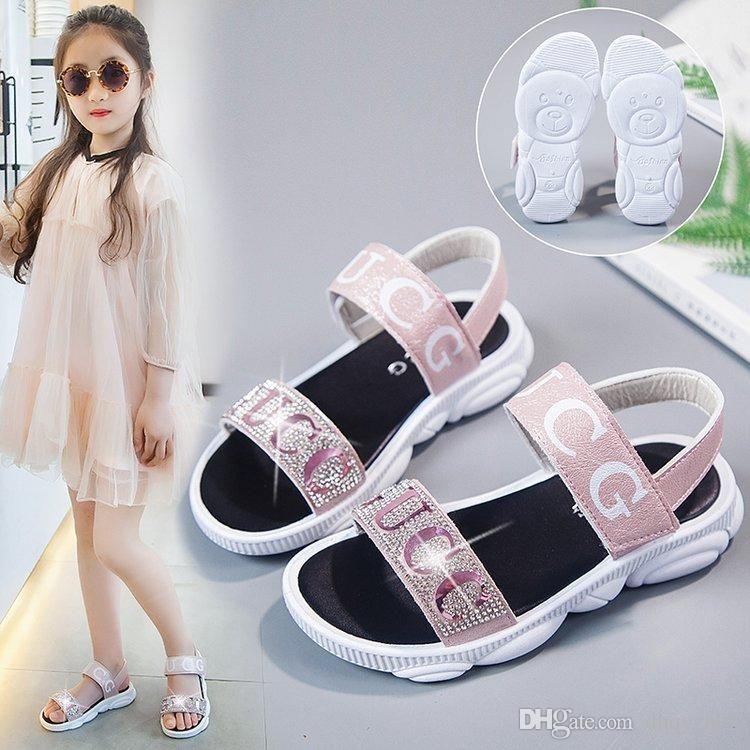 2020 고품질 어린이 패션 샌들 소녀 다이아몬드 공주 신발 편안한 미끄럼 방지 저렴한 가격 2 색 무료 배송