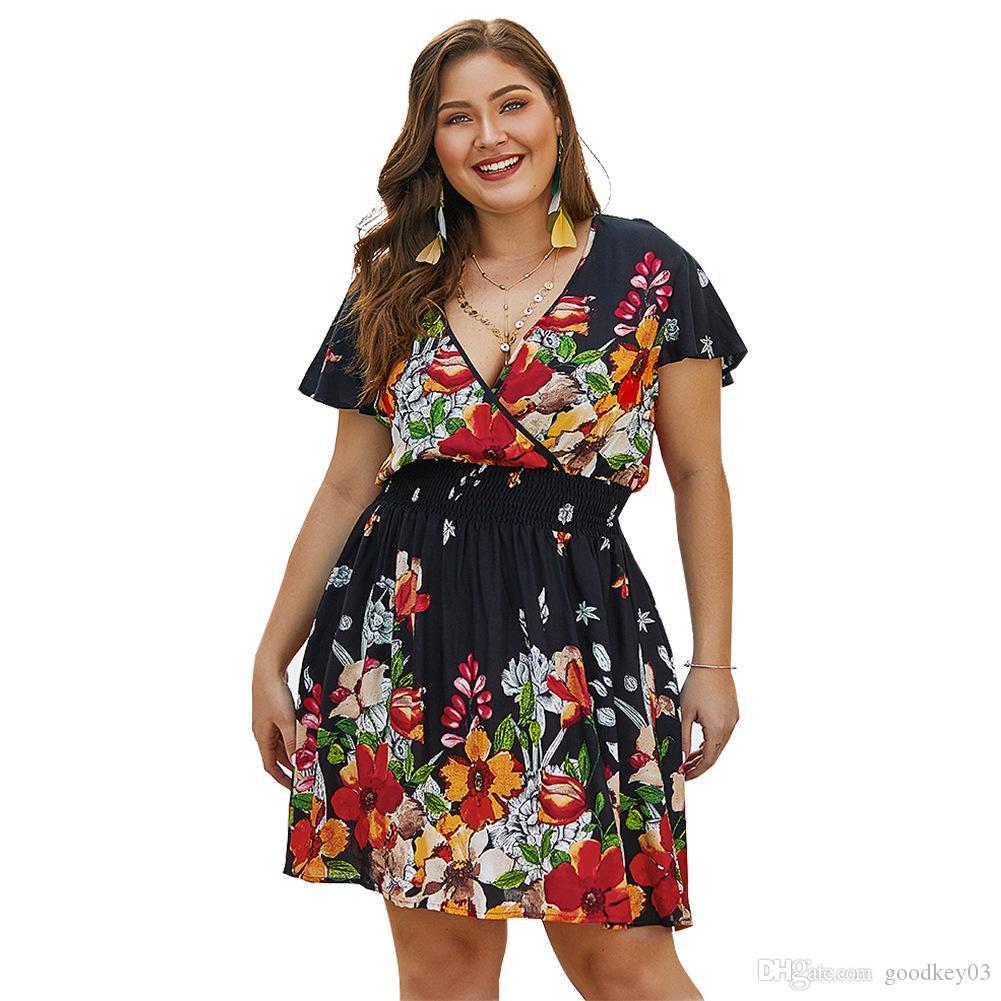 Плюс размер платье 2019 женщины с коротким рукавом V-образным вырезом эластичный пояс свободные повседневные цветочные печати Boho летние платья