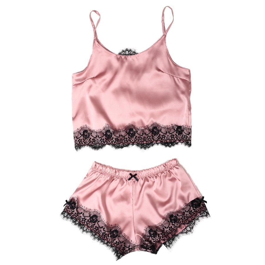 Womens Satin Pajama Set Spaghetti Strap Lace Applique Cute Cami Top And Shorts Silk Like Pajama Set Comfy Sleepwear Y19051701