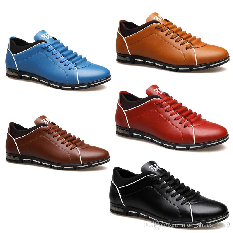 2020 hotsale men shoes black wine red brown blue fashion designers casual shoes dropshipping free shipping size 39-44 #124