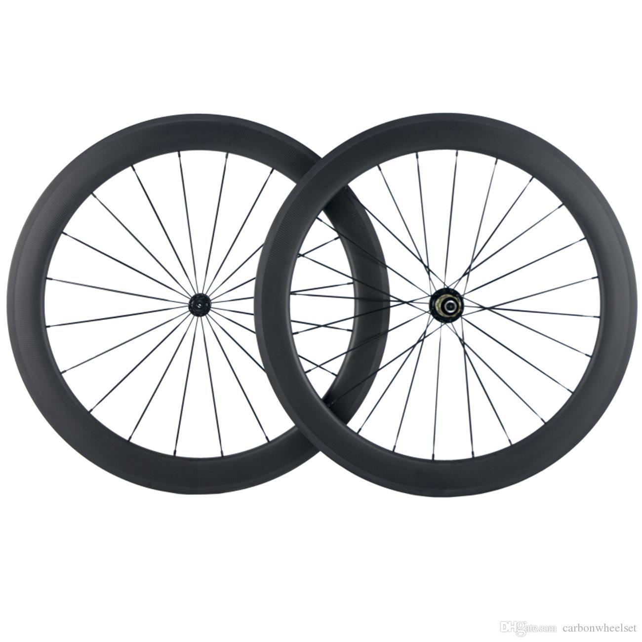 700C tubolare del carbonio Wheelset 60 millimetri di profondità Road Bike Wheels 3k opaca con 3k freno Superficie Ruote larghezza di 25mm