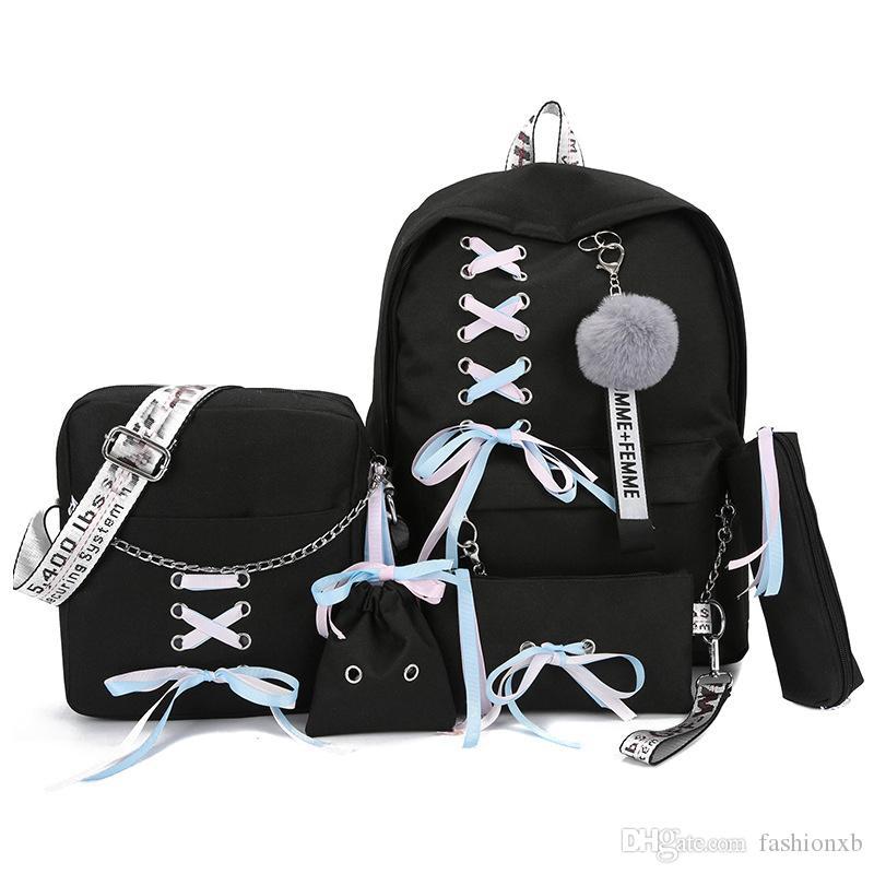Conjunto de 5 piezas Cadena Mochila USB Moda Mochila de lona de lujo para mujer Mochilas para niñas adolescentes Mochila Bolso de hombro para mujer Mochilas escolares Borla