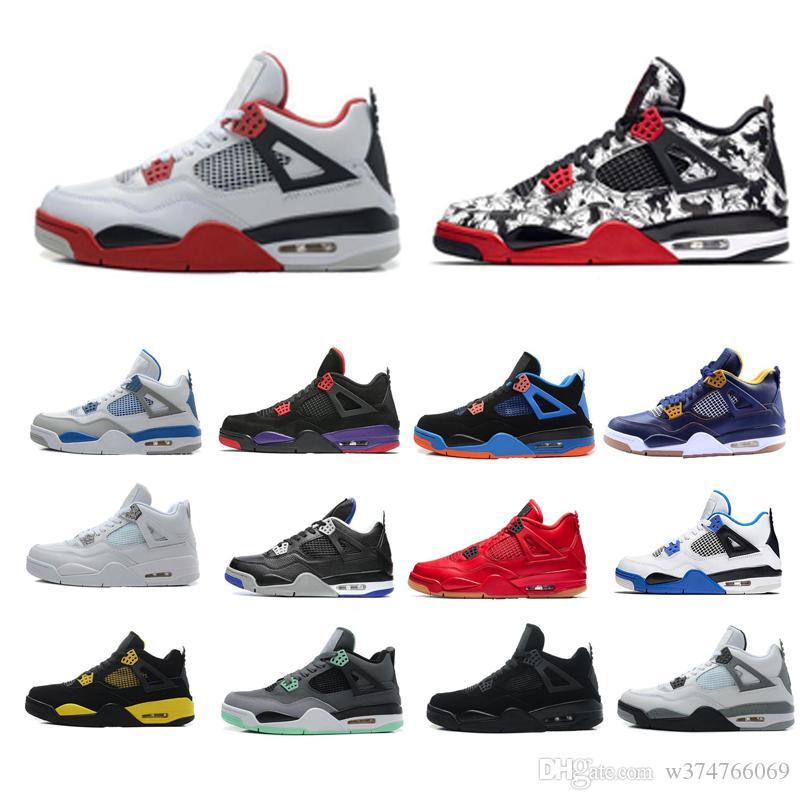 4 4s de basket-ball Chaussures Hommes Femmes pur Droits de l'argent noir blanc ciment Raptors chat noir Bred Formateurs Red Fire sport Chaussures de sport Taille 40-46