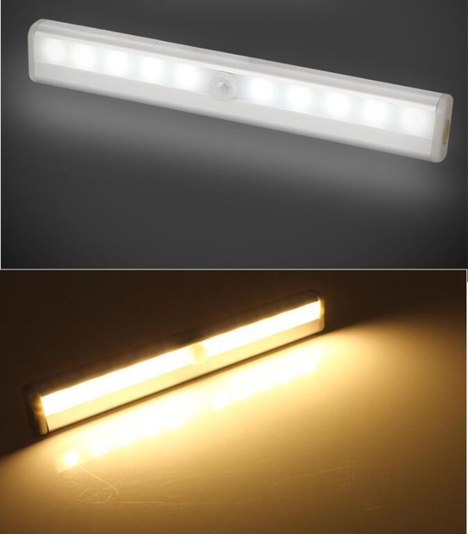 10 LED 무선 모션 센서 캐비닛 라이트 카운터 옷장 조명 마그네틱 스틱 조명 밤 라이트 바
