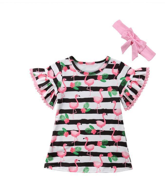 Летние детские одевают короткие рукава фламинго розовой Доры полоса цветочных помпоны детской одежда бутики матч лук