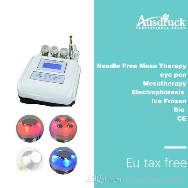 EU 세금 무료 4in1 바늘 무료 mesotherapy meso therapy photon 초음파 피부 젊 어 짐 기계 안티 링클 아름다움 장치 데스크탑 디자인