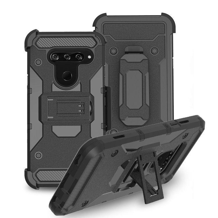 Resistente armadura resistente caso robusto para lg stylo 5 4 v50 v40 k40 Q8 fino q7 além de choque à prova de choque com cinto clip / kickstand