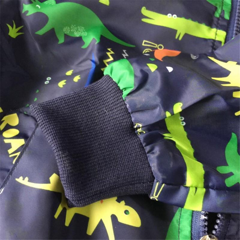 2019 New Autumn Toddler Girl Boy Cartoon Dinosaur Printing Coat Jackets Zipper Outfits with Pockets Jacket For Boys