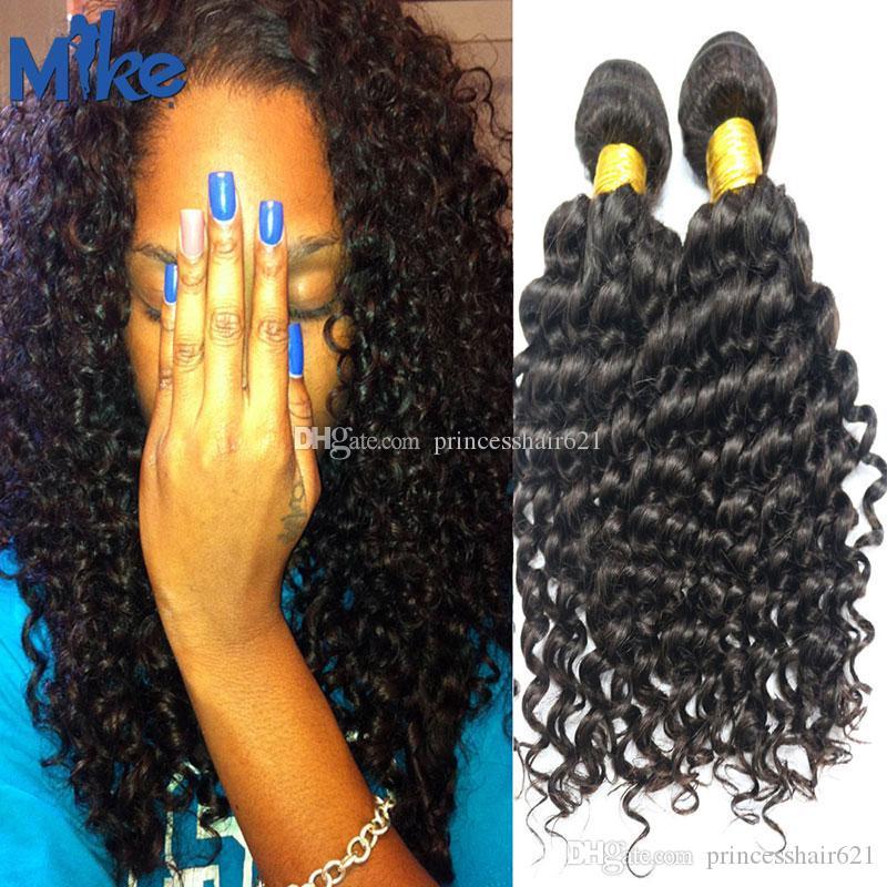 MikeHAIR Brazilian Deep Wave Curly Hair Weaves Wholesale Human Hair Extensions 2 Bundles 8-34In Peruvian Indian Malaysian Human Hair Weave