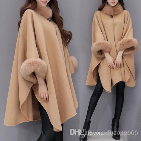 Kostenloser Versand 02 Winter neue Wollmantel Koreanische Version des großen Pelzkragen Mantel Hepburn Wind lose Größe Damen Wollmantel