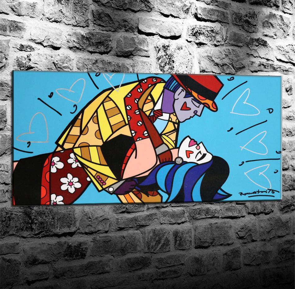 Romero Britto Masquerade, HD Impresión de lienzos Nueva decoración del hogar Pintura del arte / (sin marco / enmarcada)