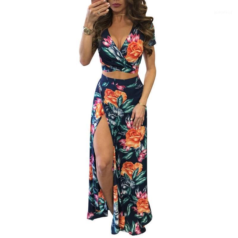 New elegante Mulheres Summer Long Maxi Vestidos Two Piece Set Sexy 2017 oco Out Top Curto Saias Floral Imprimir 2 Piece Suits1