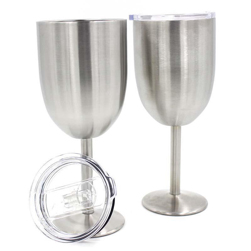 Camada de aço inoxidável Taças Cup Wine Beer Café Wine Vidro Duplo Wine 10OZ com tampa Óculos DDA54