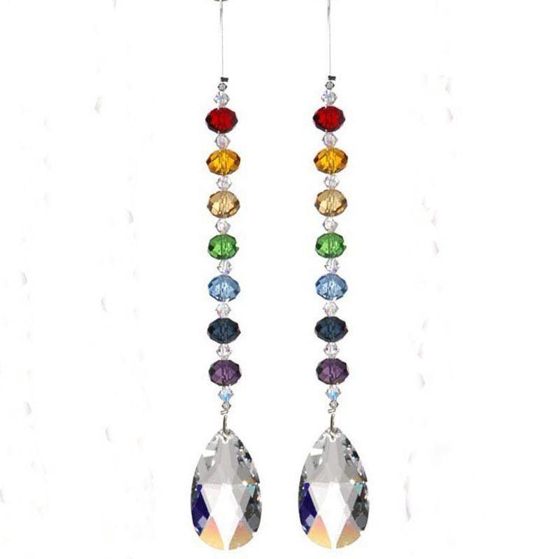 10Pc Tear Drop Clear Glass Crystal Prism Pendant Chandelier Jewelry  Suncatcher