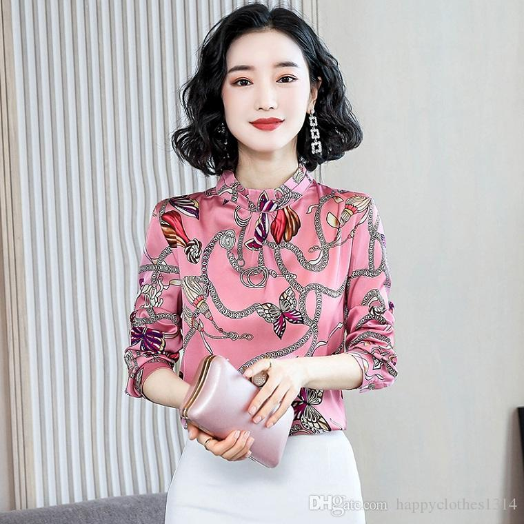 High Quality Silk Satin Shirt Turtleneck Tops Women Fashion Long Sleeve Printed Ladies Elegant Blouses Slim Runway Office Plus Size Shirts