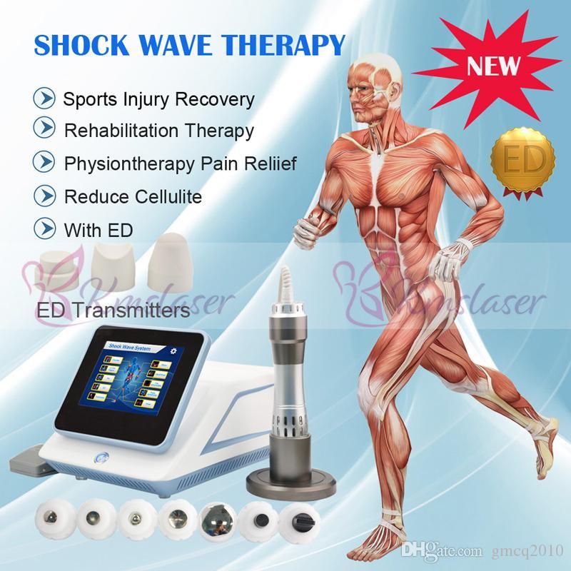 7 transmissores portátil dispositivo de terapia de ondas de choque para ortopedia / acústico radial ESWT máquina de baixa intensidade para disfunção erétil