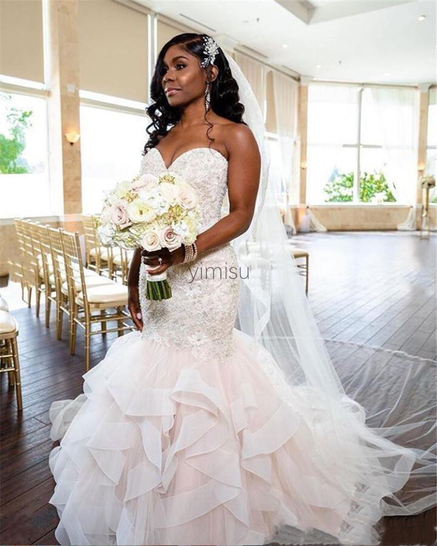 Gorgeous Mermaid Wedding Dresses Sweet Heart Sweep Train Cascading Ruffles Appliques Beads Garden Chapel Bridal Gowns vestidos de novia
