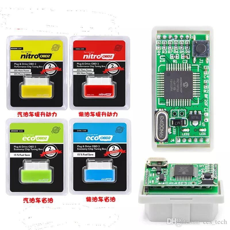 Nitroobd2 ecoOBD PIC16F59 kaliteli çift pcb Plug Sürücü NitroOBD2 Performans Dizel Otomobiller% 35 daha fazla güç için Chip Tuning Box,% 25 daha fazla