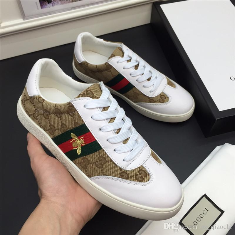 2020 Hot sale!Fashion Famous luxury Designers Little bee Casual Canvas Leather Shoes Flat Man sneakers Top quality with original box