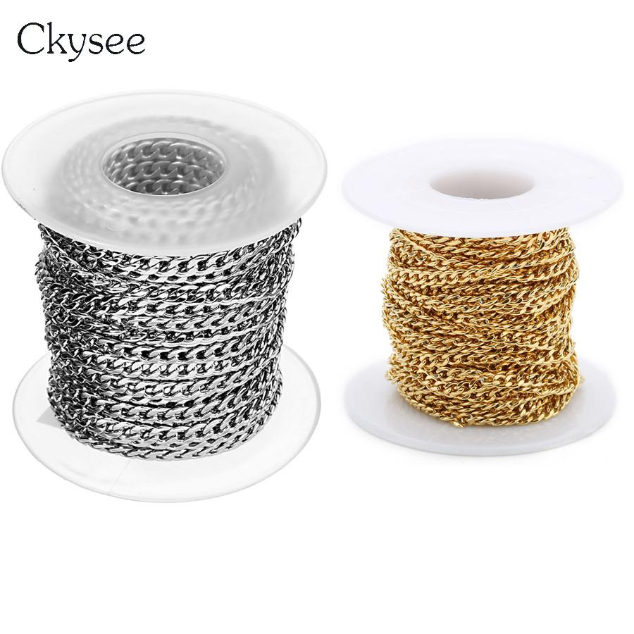 Ckysee 10Yards/lot 3 4 5mm Width Men Stainless Steel Rolo Link Chain Necklace Gold Silver Color Metal Bulk Chain Jewelry Making