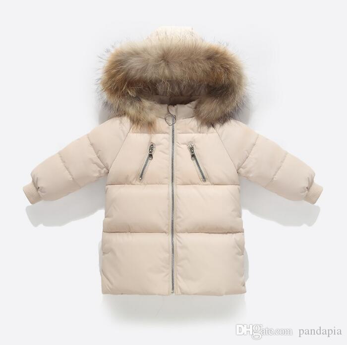Новые детские пуховики длинных мальчиков и девочки младенец младенец хлопка куртка хлопка куртка зима мехового воротник пальто