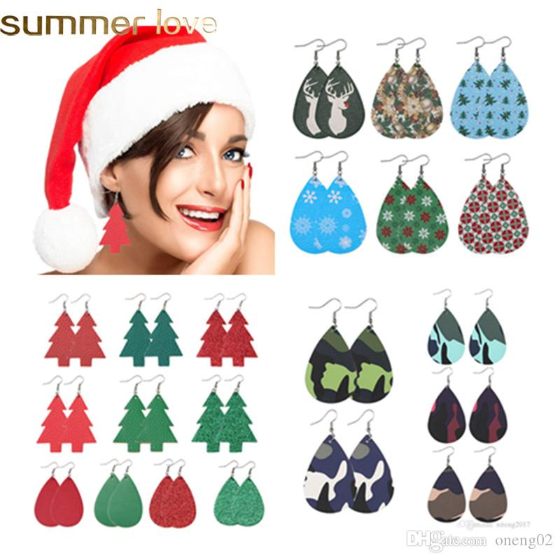 New Fashion Christmas Waterdrop Leather Earrings Variety Design Snowflake Christmas Tree Drop Dangle Earrings Jewelry Gifts 28 Colors