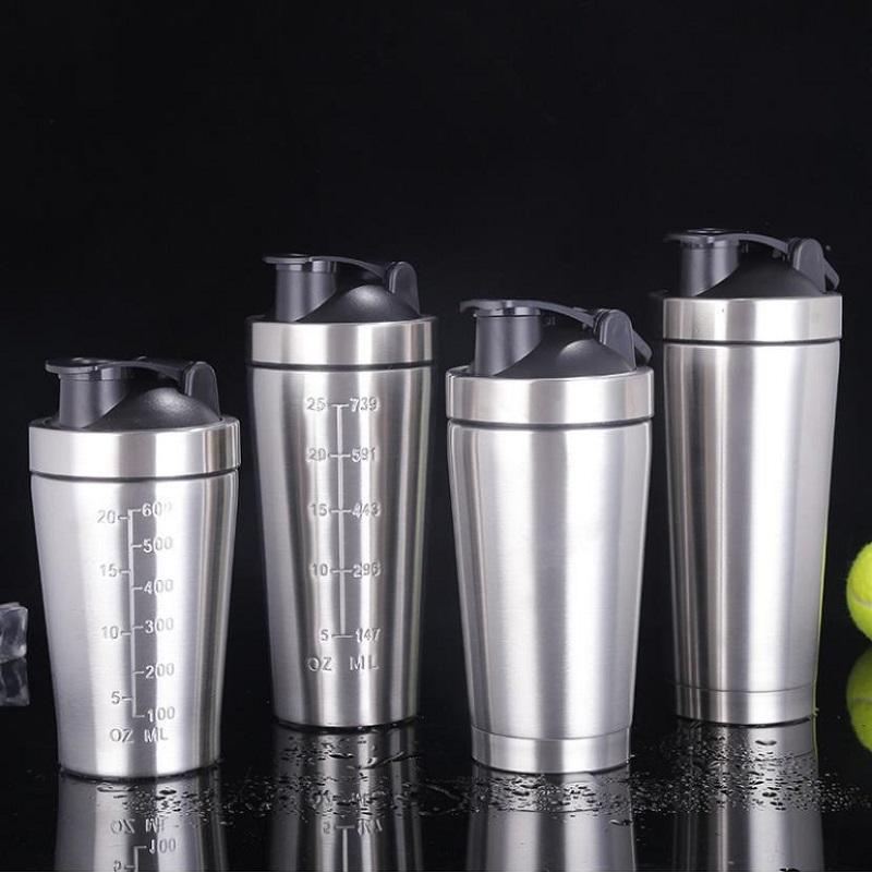 25oz Protein Powder Shaker Bottle Gym Shake Cup Excercise Blender Mug Double Walled Stainless Steel Bottle Portable Vacuum Water Mug