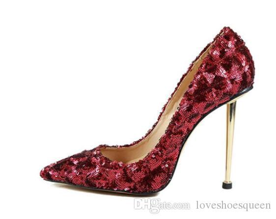2019 nuevas mujeres de la llegada bling bling bombas de oro zapatos de fiesta de tacón con tiras glitter lentejuelas bombas de punta estrecha tacones altos zapatos de vestido rojo