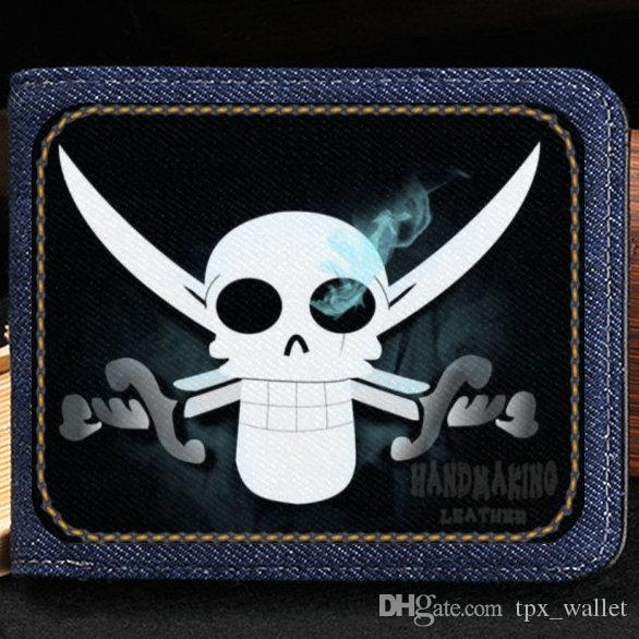 The Flying Dutchman wallet One piece purse Skull sword cartoon short cash note case Money notecase Leather jean burse bag Card holders