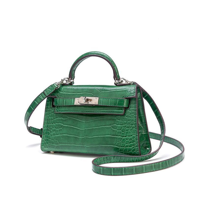 2019 nuevo de la manera de lujo del cocodrilo mujeres del diseñador de bolsos de marca bolsos del mensajero del cuero auténtico Pequeño Bolsa de hombro Sac principal