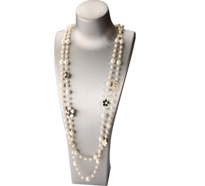 Mulheres de alta qualidade mulheres longas pingentes em camadas colar de pérola collar de moda número 5 flor festa jóias gd290