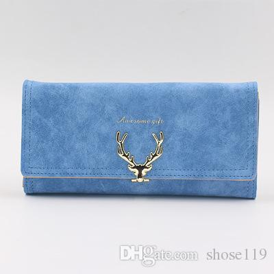 Fashion pure color new cartoon deer head design three fold long lady hand bag multi-functional personality temperament long purse