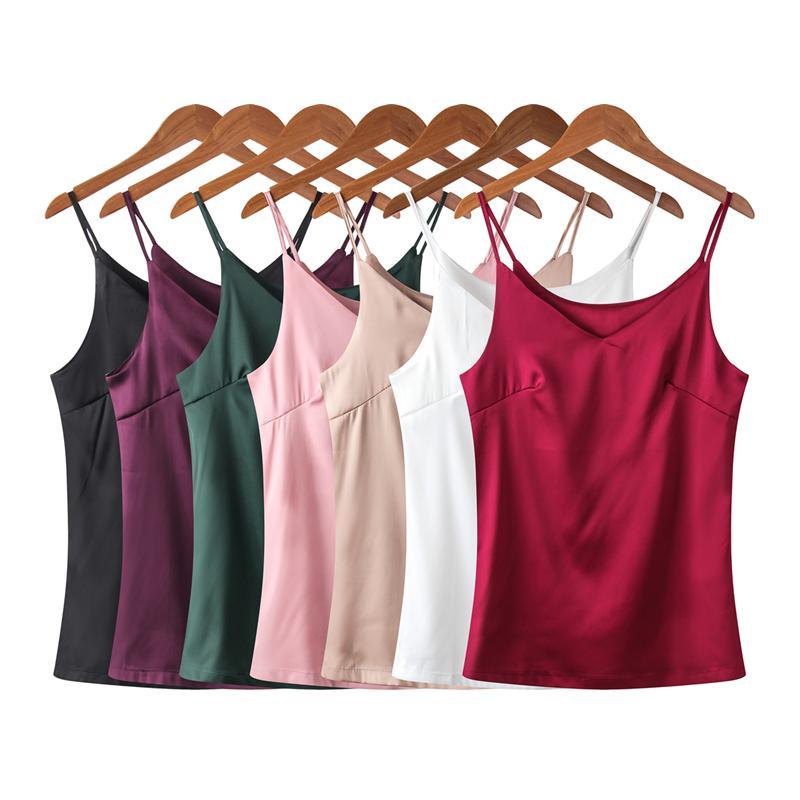 Mode coréenne Silk Crop Top femmes manches en satin Spaghetti Strap Top Plus Taille 4XL épaules Femmes Débardeur