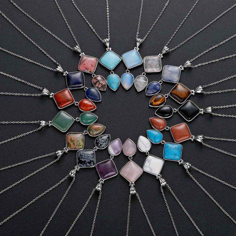 qimoshi Double Pendentif pierre naturelle gouttes charme bijoux bricolage porte-clés hommes et femmes 12PCS
