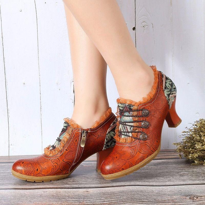 Испания Стиль Женщина Насосы Зрелые Высокие Каблуки Натуральная Кожа Рим Стиль Красочные Женщины Насосы Обувь Zapatillas Mujer S21-16