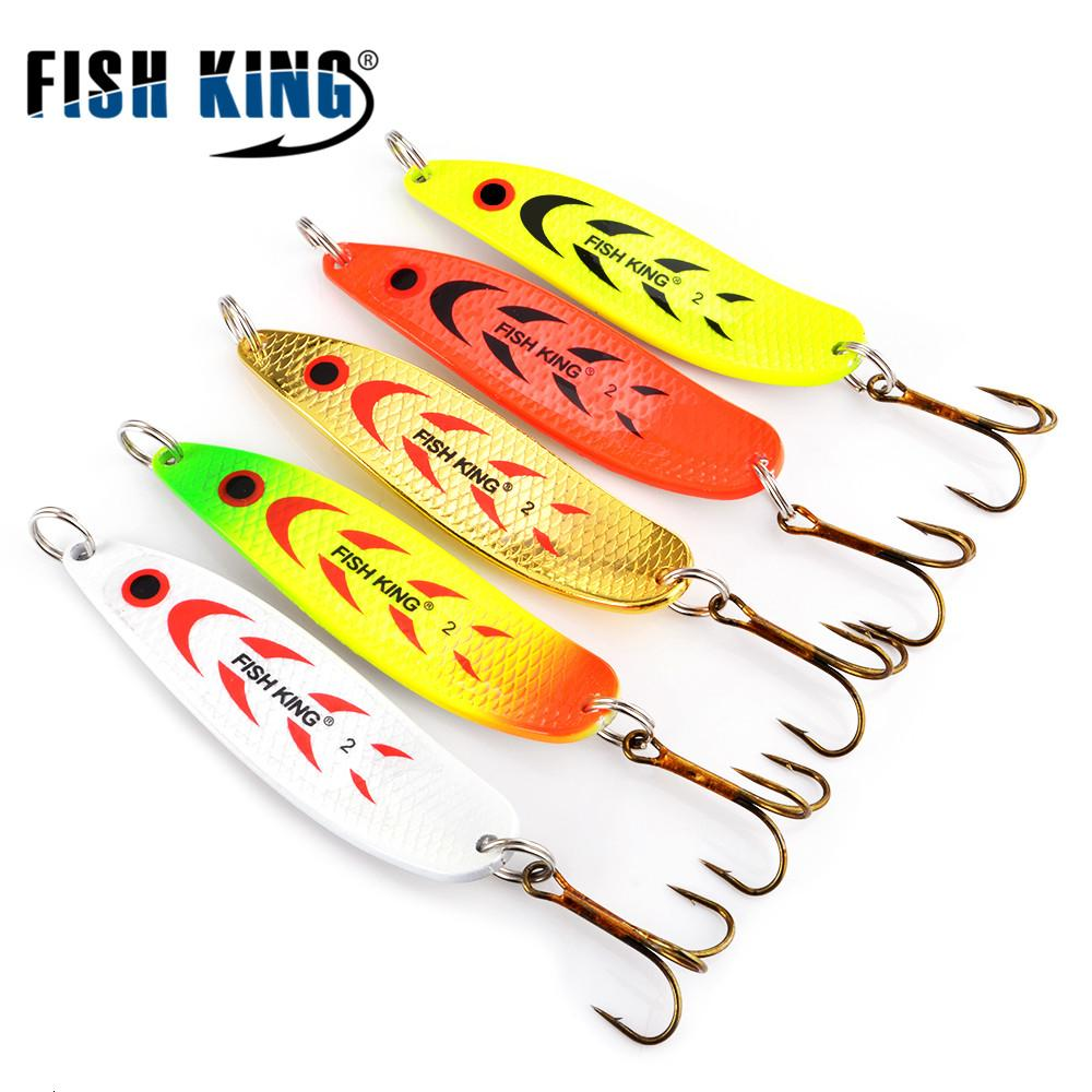 5pcs/lot Metal Spoon Spinner Fishing Lure Wobblers For Trolling Bass Fishing Trout Spoon Bait Hard Lures Treble Hook T191020