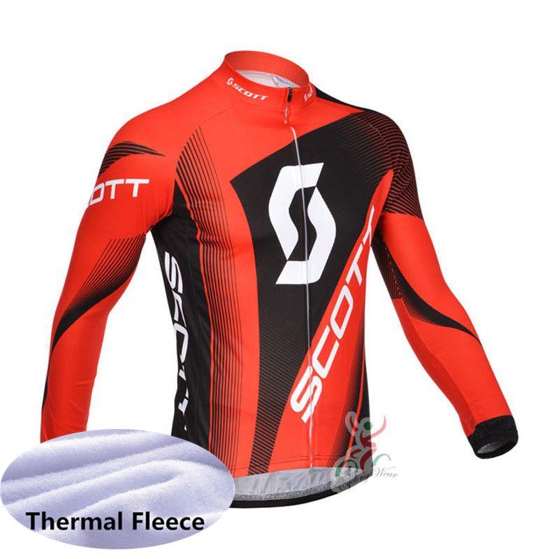 2021 Scott Takımı Erkek Bisiklet Kış Termal Polar Jersey MTB Bisiklet Gömlek Uzun Kollu Yarış Tops Bisiklet Giyim Ropa Ciclismo Y20122501