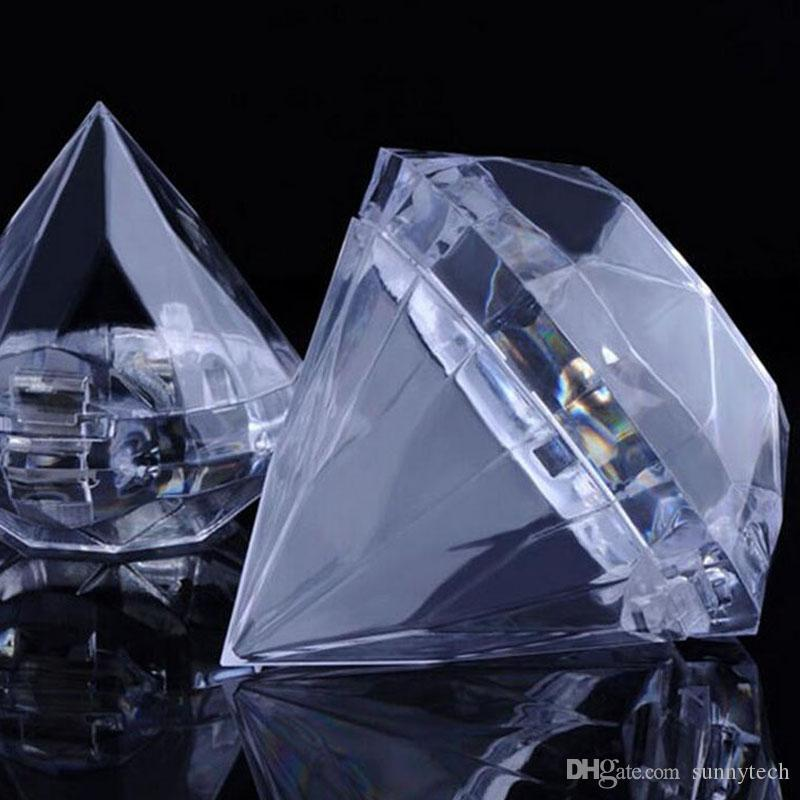 Clear Plastic Diamond Candy Boxes Wedding Favor Box Sweet Holders Banquet Giveaways For Guest Free Shipping ZA4106