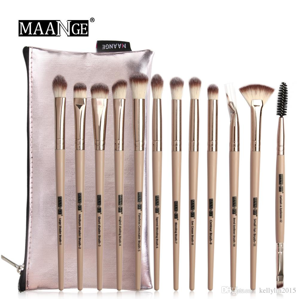Professional Makeup Brushes Set with Bag 12pcs Facial Make Up Powder Brushes Tools Concealer Eye shadow Highlighter Lip Brush