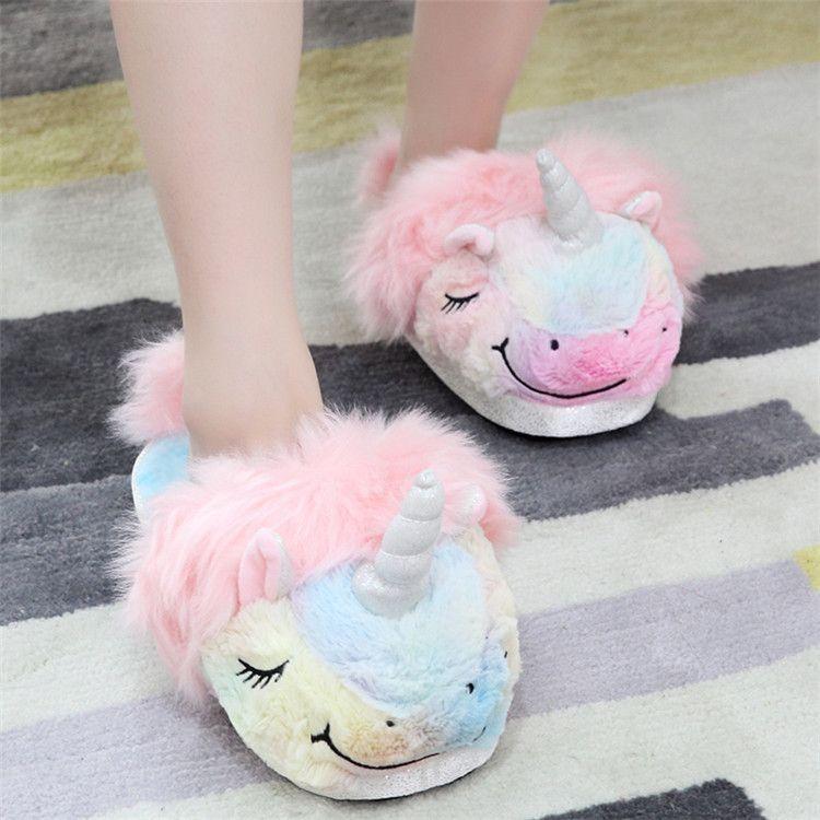 Unicorn Pantofole per ragazze Scuff Slip On letto casa Slipper Arcobaleno Cosy peluche Home pattini coperta Pantofole donna sveglia Soffici Ragazze Slipper