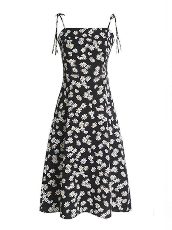 nuova lunghezza sottile mezzo stampato elegante gonna Daisy bretella estate 2020 delle donne abito floreale