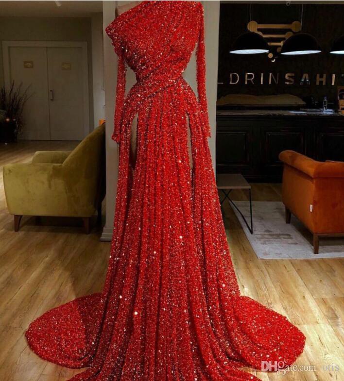 Evening dress Yousef aijasmi Kim kardashian Red Blini Sequines A-Line One shoulder Split Long sleeve Lace Crystal Zuhair murad 101